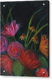 Dramatic Floral Still Life Painting Acrylic Print by Mary Wolf