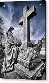 Dramatic Gravestone With Cross And Guardian Angel Acrylic Print