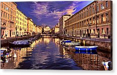 Dramatic Skies Over Trieste Acrylic Print by Graham Hawcroft pixsellpix