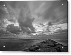 Dramatic Skies Over Galveston Jetty Acrylic Print