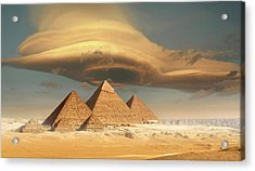 Dramatic Storm Cloud Above Pyramids Acrylic Print by Jimpix