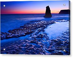 Dramatic Sunset View Of A Sea Stack In Davenport Beach Santa Cruz. Acrylic Print by Jamie Pham