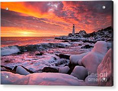 Dramatic Winter Sunrise At Portland Head Light Acrylic Print