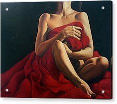 Draped In Red Acrylic Print