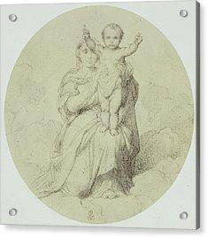 Drawing By Paul Delaroche, La Vierge Et Lenfant Jesus Acrylic Print