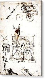 Drawing For An Automobile Mechanisms Acrylic Print by Leonardo da Vinci