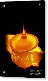 Drawing Glass From Crucible Acrylic Print by James L. Amos