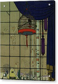 Drawing Of A Bid In A Cage In Front Of A Window Acrylic Print