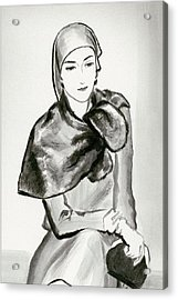 Drawing Of A Woman Wearing A Lucien Lelong Acrylic Print