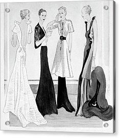 Drawing Of Four Well-dressed Women Acrylic Print by Eduardo Garcia Benito