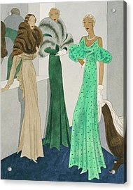 Drawing Of Models Wearing Wool Evening Dresses Acrylic Print by Eduardo Garcia Benito