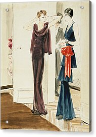 Drawing Of Two Women Wearing Mainbocher Dresses Acrylic Print