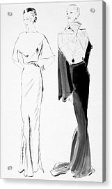 Drawing Of Women In Evening Wear Acrylic Print by Rene Bouet-Willaumez