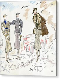 Drawing Of Women In Stylish Designer Outfits Acrylic Print by Cecil Beaton