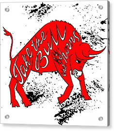 Drawing Red Angry Bull On The Grunge Acrylic Print by Ana Babii
