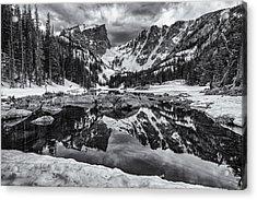 Dream Lake Morning Monochrome Acrylic Print