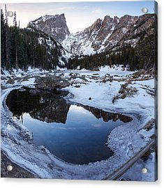 Dream Lake Reflection Square Format Acrylic Print by Aaron Spong