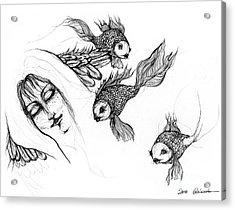 Dream Of Goldfish Acrylic Print by Angel  Tarantella