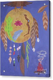 Acrylic Print featuring the painting Dream Spirit Shield by Ellen Levinson