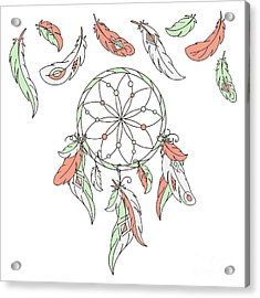 Dreamcatcher, Feathers. Vector Acrylic Print by Laata9