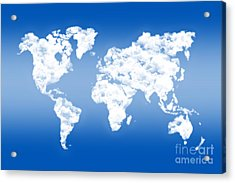 Dreamer World Map Acrylic Print by Delphimages Photo Creations