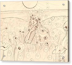 Poppy Dreams Sketch Acrylic Print by Coriander  Shea