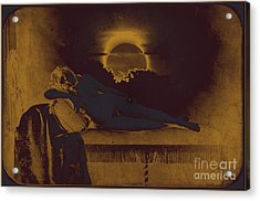 Dreaming Of The New Dawn. Reclining Nude Bathed In Blue. Acrylic Print by Peter Mix and Gustave Le Gray