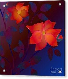 Acrylic Print featuring the digital art Dreaming Wild Roses by Latha Gokuldas Panicker