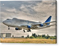 Acrylic Print featuring the photograph Dreamlifter Landing 1 by Jeff Cook
