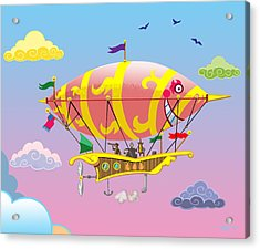 Rainbow Steampunk Dreamship Acrylic Print