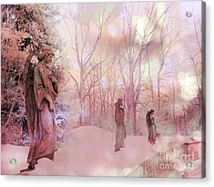 Dreamy Angel Surreal Ethereal Pink Woodlands With Angels And Statues Acrylic Print