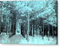 Dreamy Aqua Mint Teal Fantasy Fairytale Trees Woodlands And Stars Acrylic Print