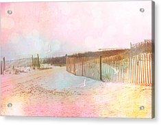 Dreamy Cottage Summer Beach Ocean Coastal Art Acrylic Print by Kathy Fornal