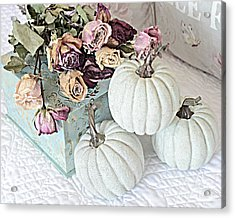 Dreamy Dried Roses Shabby Chic Cottage Autumn Fall Pastel Pumpkin Art  Acrylic Print by Kathy Fornal