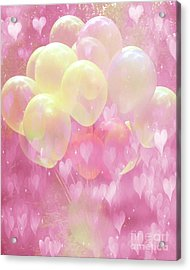 Dreamy Fantasy Whimsical Yellow Pink Balloons With Hearts  Acrylic Print by Kathy Fornal