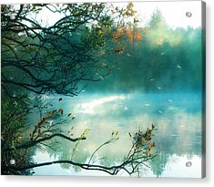 Dreamy Nature Aqua Teal Fog Pond Landscape Acrylic Print by Kathy Fornal