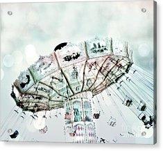 Dreamy Aqua Blue Green Ferris Wheel Swing Ride Carnival Art - Fairytale Festival Carnival Rides  Acrylic Print by Kathy Fornal