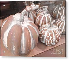 Pastel Pumpkins On Table - Autumn Fall Pumpkin Gourds   Acrylic Print by Kathy Fornal