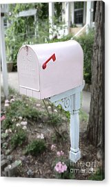 Dreamy Pink Mailbox - Shabby Chic Cottage Chic Garden Pink Mailbox - Romantic Pink Mailbox Acrylic Print by Kathy Fornal