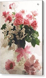 impressionistic Watercolor Roses in Vintage Antique Vase - Pink and White Vintage Roses Acrylic Print by Kathy Fornal