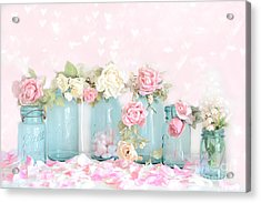 Dreamy Shabby Chic Pink White Roses  - Vintage Aqua Teal Ball Jars Romantic Floral Roses  Acrylic Print by Kathy Fornal