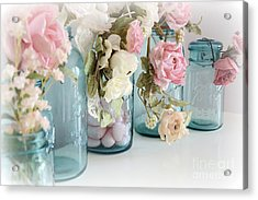 Shabby Chic Roses Blue Aqua Ball Mason Jars - Roses In Aqua Blue Mason Jars - Shabby Chic Decor Acrylic Print by Kathy Fornal