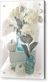 Dreamy Shabby Chic Pastel White Hydrangeas In Aqua Mason Jars - Autumn Fall Cottage Floral Decor Acrylic Print by Kathy Fornal