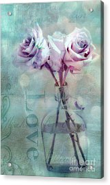 Dreamy Shabby Chic Pink Roses Teal Aqua Impressionistic Cottage Pink And Teal Love Print Acrylic Print by Kathy Fornal