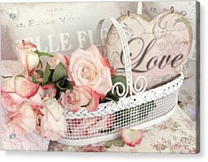 Dreamy Shabby Chic Roses In Cottage White Basket - Roses And Love Heart Acrylic Print by Kathy Fornal