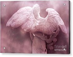 Dreamy Surreal Ethereal Pink Angel Art Wings Acrylic Print by Kathy Fornal