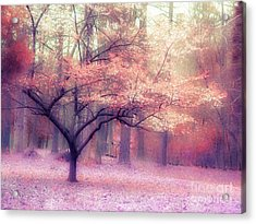 Dreamy Surreal Fall Autumn Ethereal Trees Nature Landscape South Carolina Nature Landscape Acrylic Print by Kathy Fornal