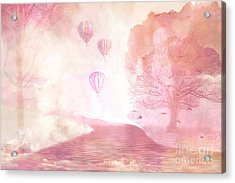 Dreamy Surreal Fantasy Fairytale Pastel Hot Air Balloons Dreamland Nature Fantasy Art Acrylic Print by Kathy Fornal