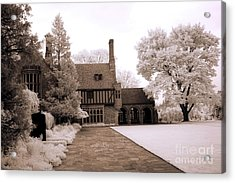Dreamy Surreal Infrared Michigan Meadowbrook Mansion Landscape Acrylic Print by Kathy Fornal