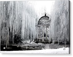 Dreamy Surreal Infrared Nature Ethereal Trees With Gazebo  Acrylic Print